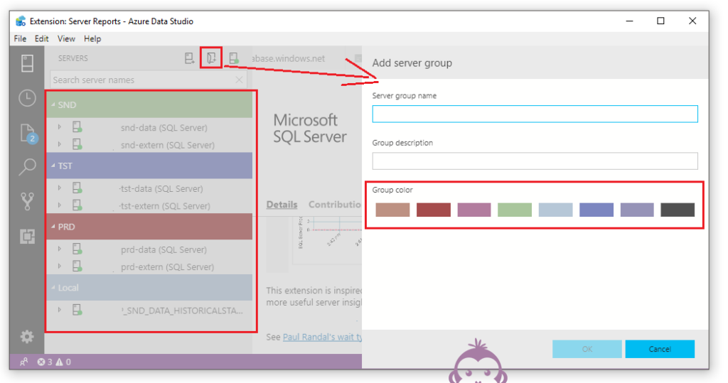 Azure Data Studio groups