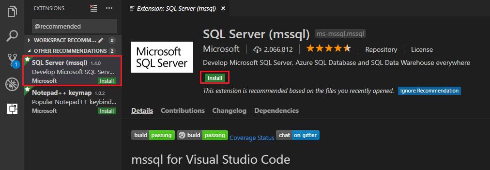 VSCode - SQL Server mssql extension