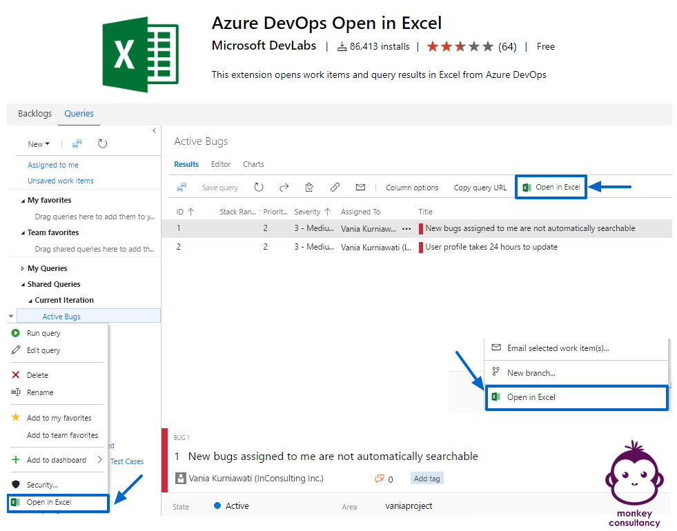 Azure DevOps Open in Excel