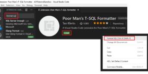 VSCode - Poor Mans TSQL Formatter