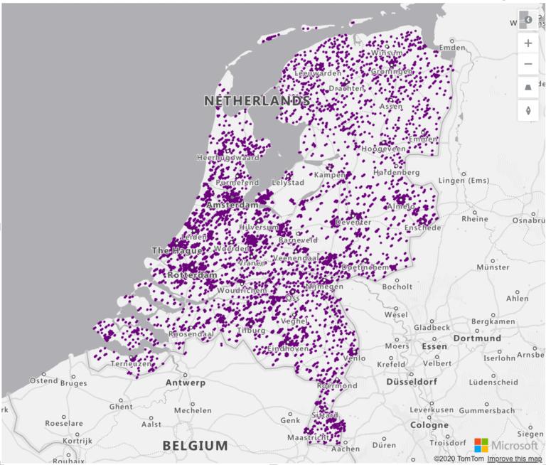 Voorbeeld dataset met geografische locaties (geolocations: latitude & longitude), adresses, lokale namen en credit card nummer voor demo of test doeleinden